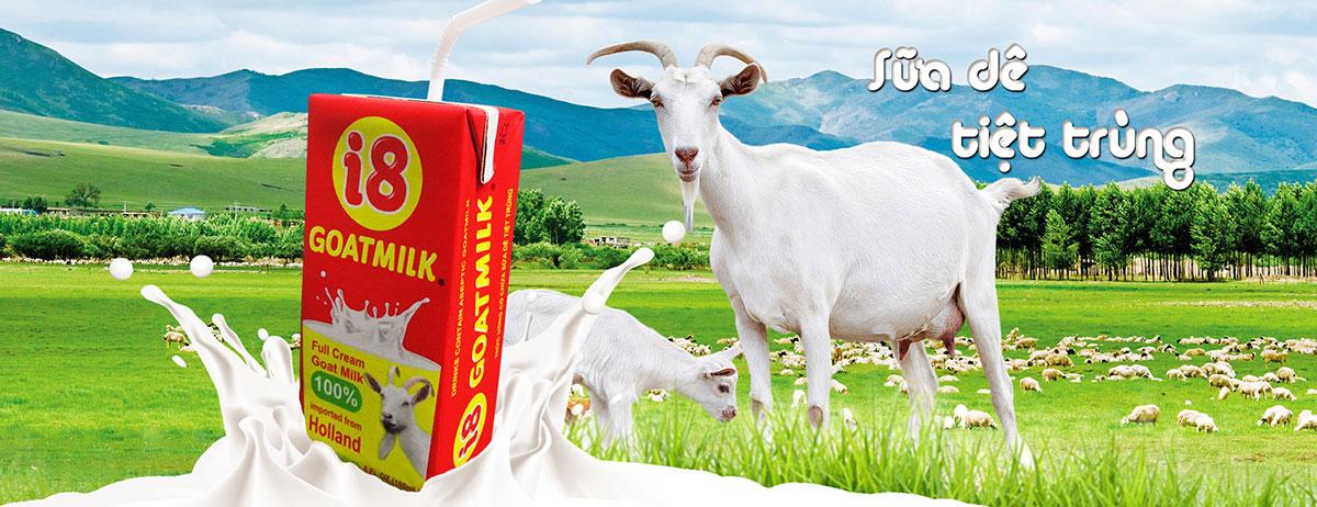 Sữa dê tiệt trùng i8 GoatMilk giữ đúng nguyên chất Hà Lan.